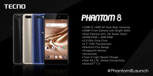 Tecno phantom 8 specifications and features in Nigeria (Price)
